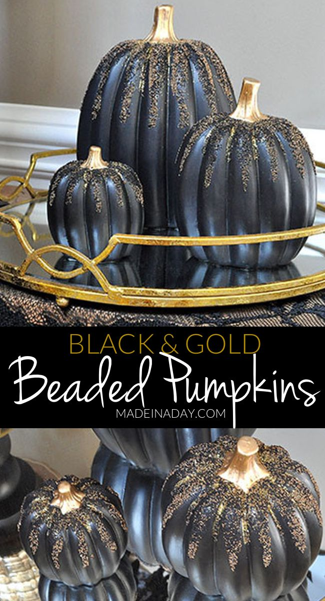 Gold and Black Beaded Pumpkins, haunted black gold Halloween entryway tour, Crystal ball, Gold Skeleton, victorian fringe, flying witch, gold black Halloween #sponsored via @madeinaday