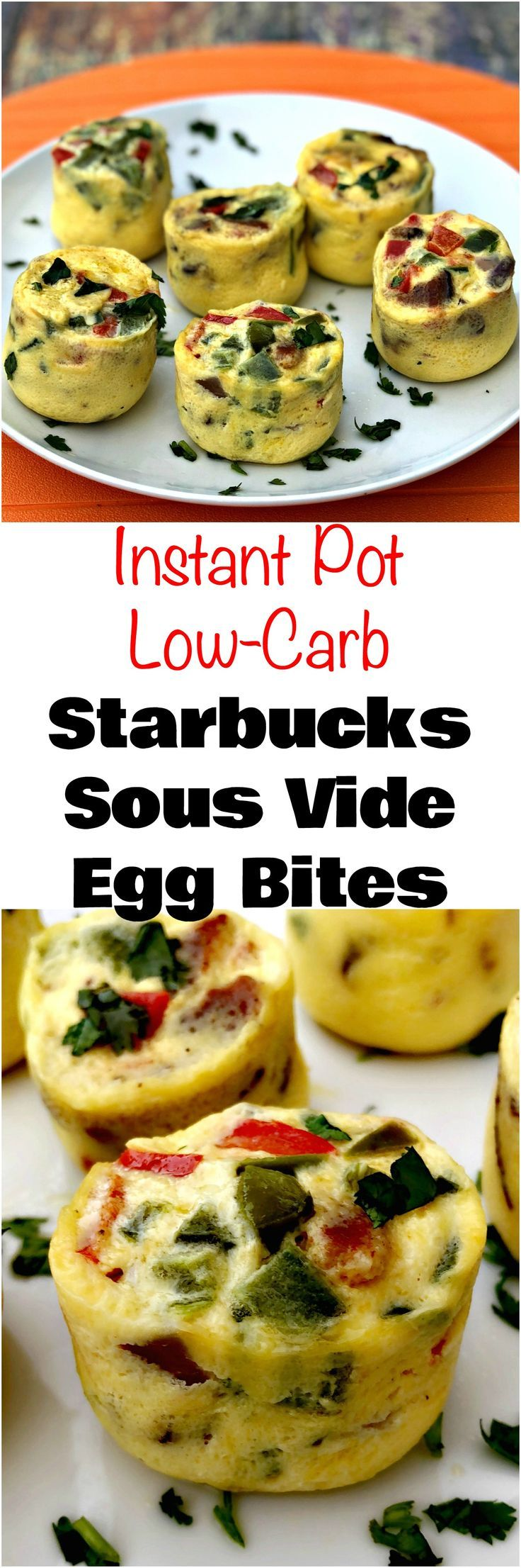 Instant Pot Low-Carb Starbucks Sous Vide Bacon Egg Bites is a quick and easy, protein, keto pressure cooker recipe with eggs, egg whites, and bacon.