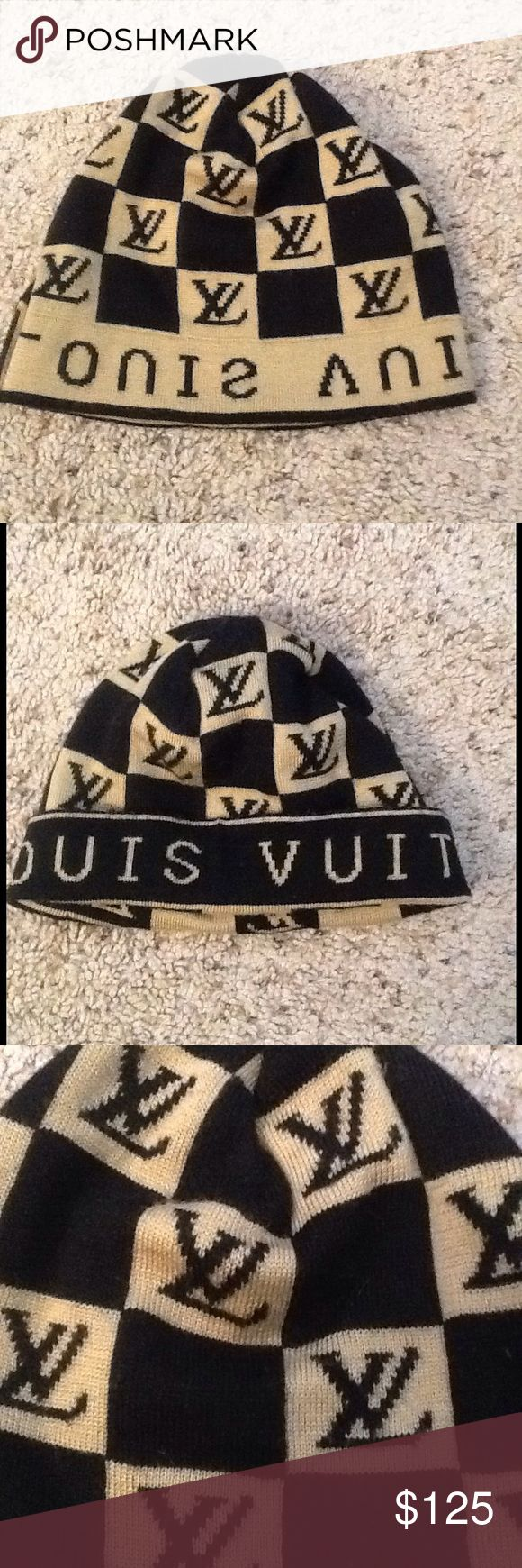 LOUIS VUITTON DAMIER MONOGRAM BEANIE HAT CAP LOUIS VUITTON Damier Monogram Signature brown and tan beanie hat.  Like New condition.  Great gift!  Will ship right away.  Check out my other designer items Louis Vuitton Accessories Hats