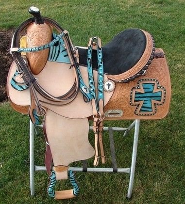 "Showman 16"" Western Show Barrel Saddle Set Turquoise Blue with zebra crosses for sale in Chenango, New York :: HorseClicks"