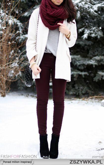white sweater + gray t-shirt + burgundy jeans