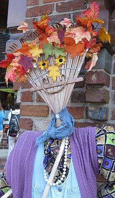 LOVED the cute scarecrow ideas at Ramblings of a Southern Girl: Whimsical Fall Displays -- Fun projects for grandparents and grandchildren!