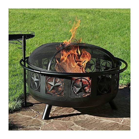 Sunnydaze Large All Star Fire Pit Bowl Black Steel Wood Burning