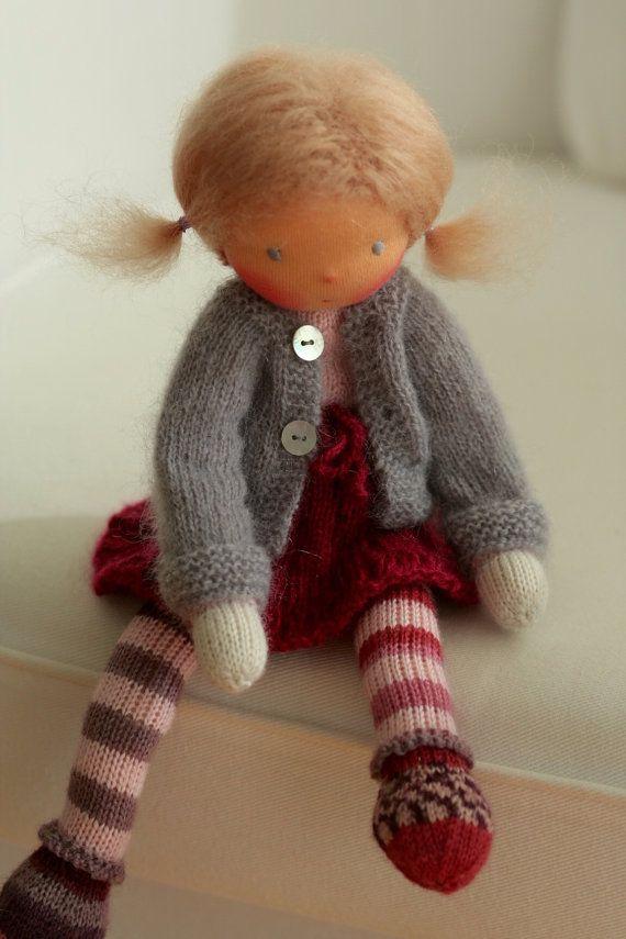 Waldorf knitted doll Lotte 13 by Peperuda dolls by danielapetrova