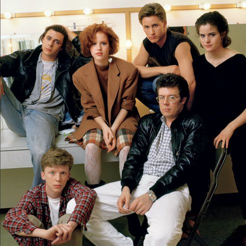 judd nelson, anthony michael hall, molly ringwald, john hughes, emilio estevez, and ally sheedy