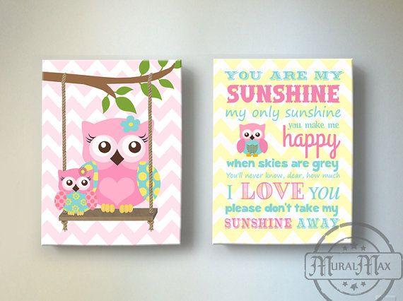 You Are My Sunshine Owl Nursery Toddler Girls Room Art by MuralMAX