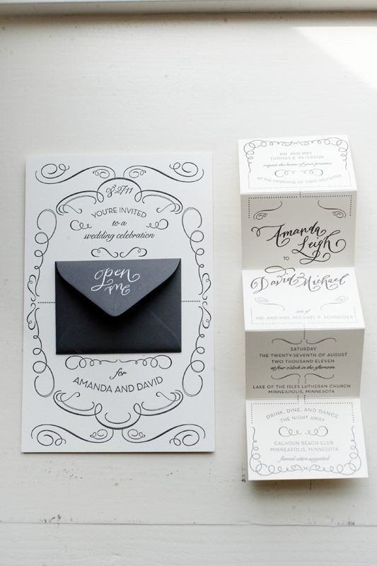 surprised how much i like these. i love the non-calligraphy font, and how some of the invitation elements are offset by the little lines and flourishes