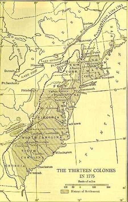de 13 kolonies in 1775