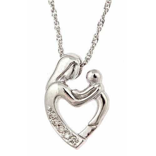 60 best mama s day images on pinterest jewel jewelery and jewelry 10k white gold diamond mother and child pendant with necklace 18 003cttw aloadofball Image collections