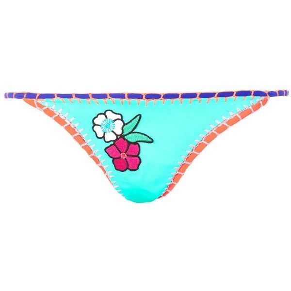 Topshop Embroidered Crochet Bikini Bottoms (€18) ❤ liked on Polyvore featuring swimwear, bikinis, bikini bottoms, multi, bikini bottom swimwear, macrame bikini, topshop swimwear, boho bikini and bohemian beach wear