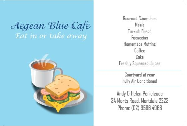 Business Cards for Cafe