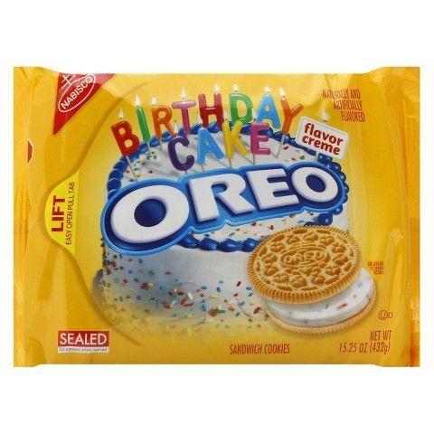 Oreo birthday cake  Description: Hoera! Deze Amerikaanse oreo's zijn perfect voor een feestje of om als cadeau te geven. De Oreo's smaken naar een verjaardagstaart en in de vulling zitten kleurijke sprinkles! (432gr)  Price: 8.00  Meer informatie  #Jamin