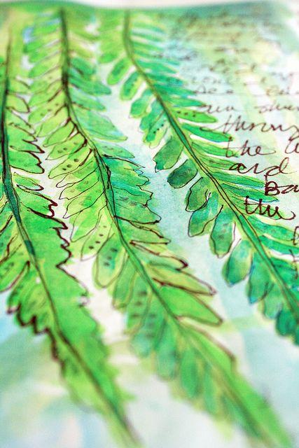 Leaves in sketchbook by Alisa Burke