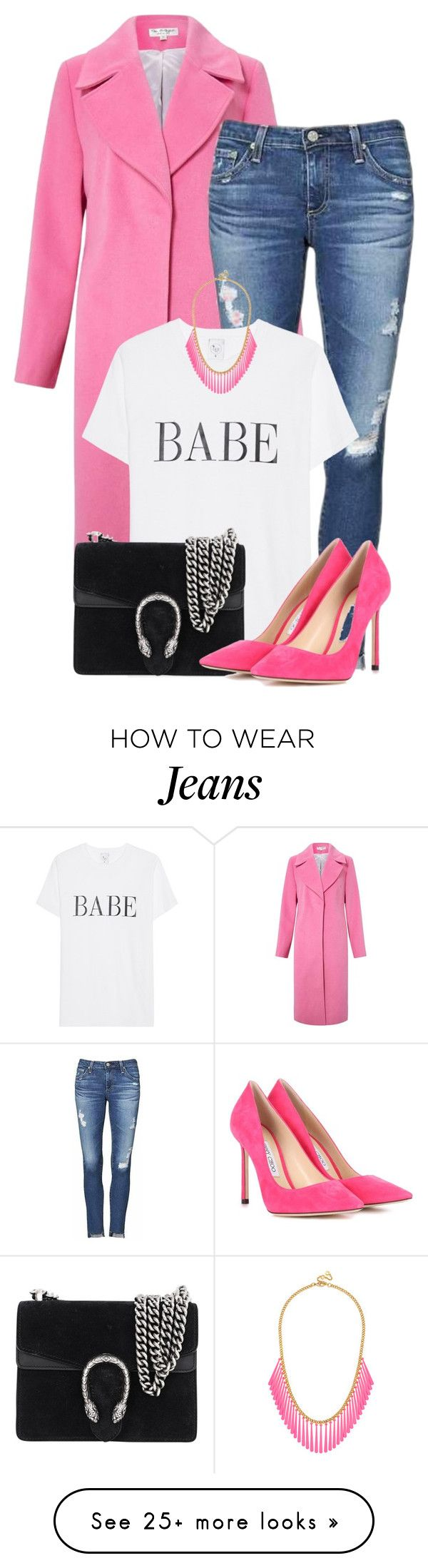 """""""Senza titolo #3612"""" by sally92 on Polyvore featuring Miss Selfridge, AG Adriano Goldschmied, Gucci, Jimmy Choo, BaubleBar and onlyset"""