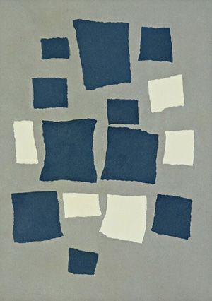 "This is a famous piece of Dada art, ""collage arranged according to the laws of chance,"" by Jean Arp. The artist ripped up pieces of paper, let them fall and then glued them where ever they landed. By leaving his art up to chance, he made a statement about life, saying everything in life is left up to chance and cannot always be controlled."