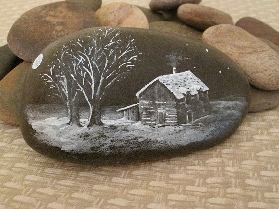 Hand Painted Stone 'Winter House' by StoneRaeker on Etsy