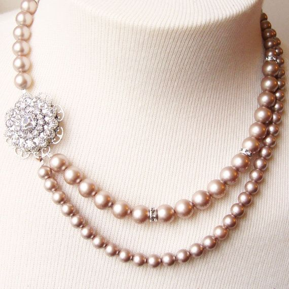 Vintage Wedding Bridal Jewelry, Champagne Pearl Necklace, Old Hollywood Rhinestone Necklace, Champagne Bridal Necklace, VICTORIA. $92.00, via Etsy.