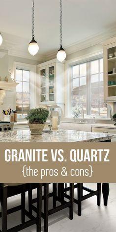 Granite vs. Quartz Counter tops - Pinned for ForeclosuresToGo.com the Internet Authority on Bargain Priced Homes