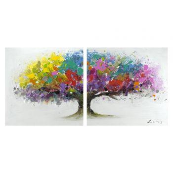 El término decoración, cuyo origen proviene del latín decoratĭo, se refiere a la tarea de decorar. Este verbo, por su parte, está vinculado a embellecer o adornar algo.   Pareja de cuadros ARBOL Multicolor.