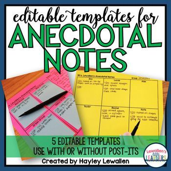 Editable and Printable Anecdotal Note Templates