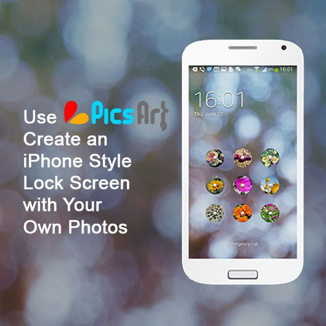 With PicsArt, one of the fun things you can do is create really cool custom lock screens for your Android device, to make it look just like an iPhone lock screen.