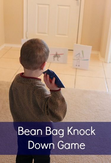 I made some quick bean bags with felt and duct tape – no sewing required!  It's best to fill these with rice – we've done pinto beans before, and the bean bags end up with a little too much sting.