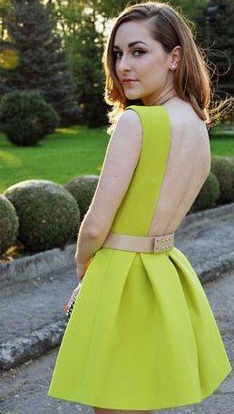 Sleeveless Backless Flare Neon Green Dress 17.67