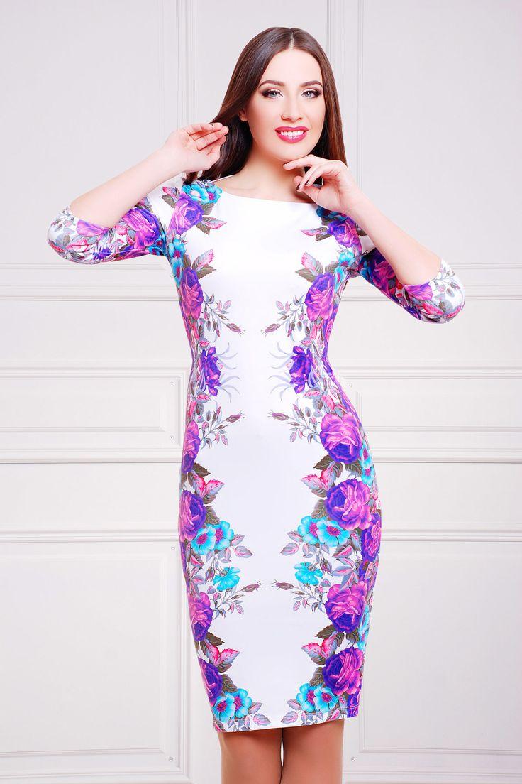 Белое платье по фигуре с цветами Фиолетовые розы платье Лоя-1Ф д/р. Цвет: принт