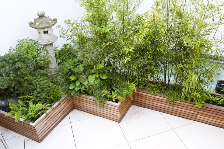 Contemporary slatted planters
