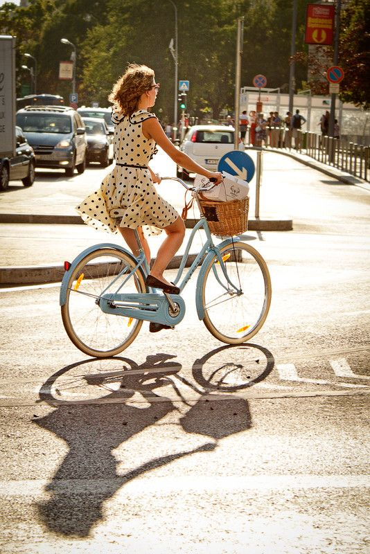 Wear the Polka Dot short dress over shorts for a bikeing fashion.