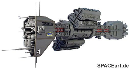 Babylon 5: E.A.S. Agamemnon. A realistic design with a centripetal force habitation section to compensate for a lack of artificial gravity, all-around weapons cited on the dorsal and ventral spines, and concentrated heavy weapons forward, as well as the launch bay.