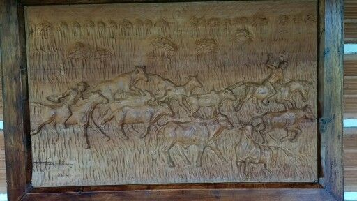 Vaqueros con ganado - Talla sobre madera