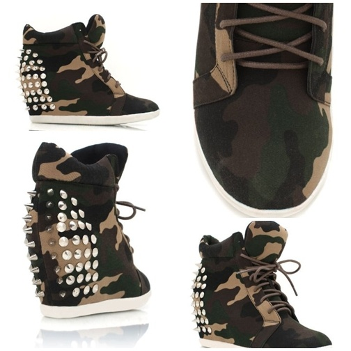 Camo Studded Wedge Sneakers