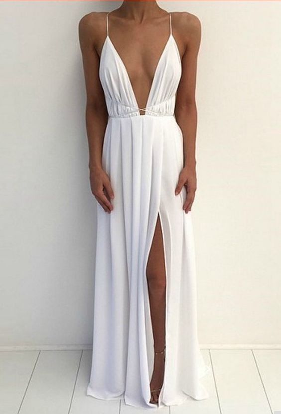 New Arrival Sexy Prom Dress,Backless Prom Dress,White Chiffon Prom Gown with Slit,Prom Party Gown by fancygirldress, $135.00 USD