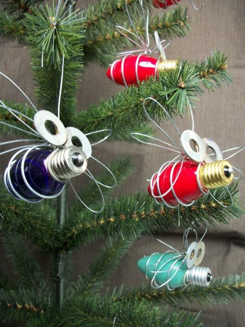 WHITE Christmas Light Bug Ornament. $5.00, via Etsy.