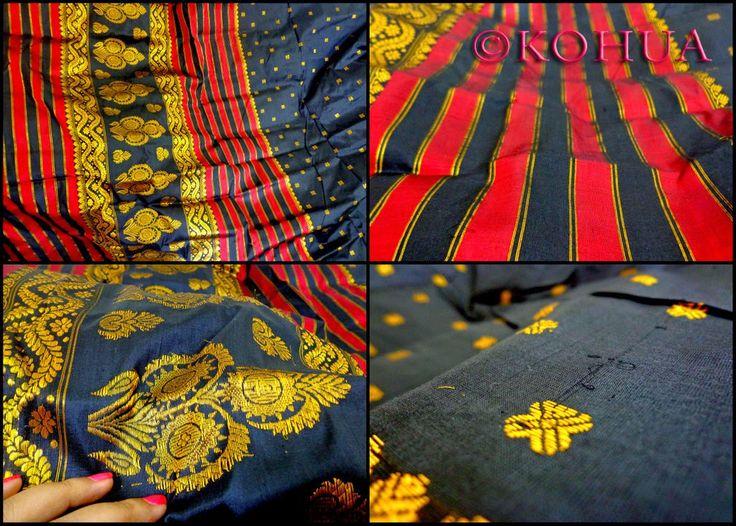 Assam Silk (Mulberry) Saree - Black Silk from Lal10.com