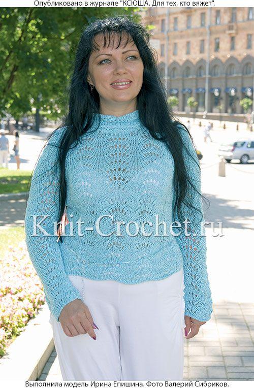 Женский ажурный пуловер-гольф размера 46-48, связанный на спицах.