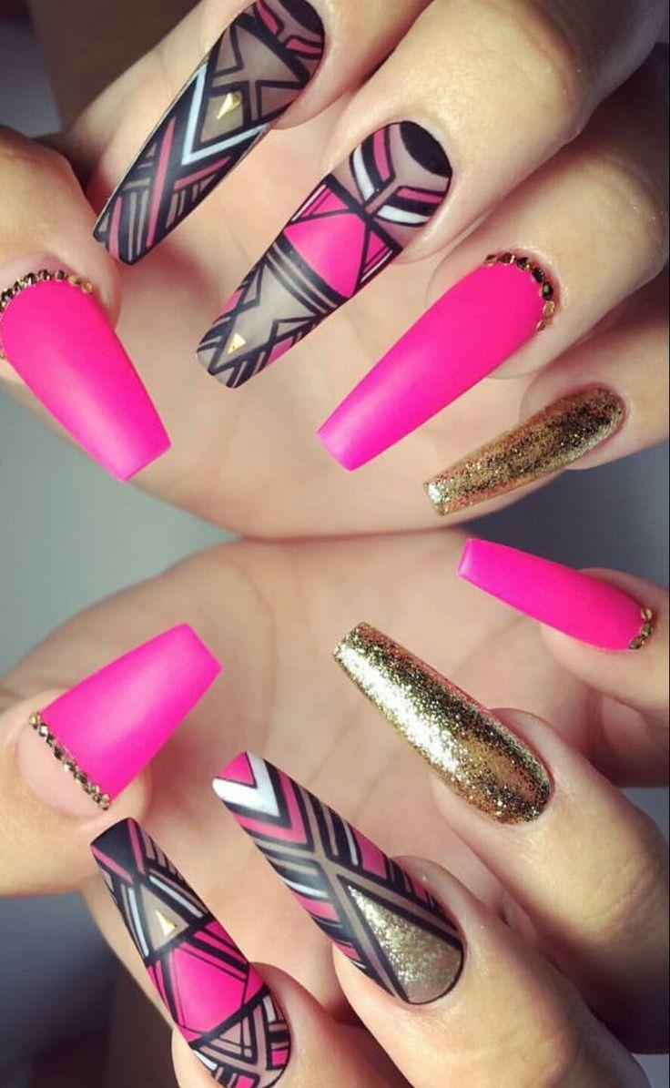 Pink gold aztec fuschia nails @helennails_yeg