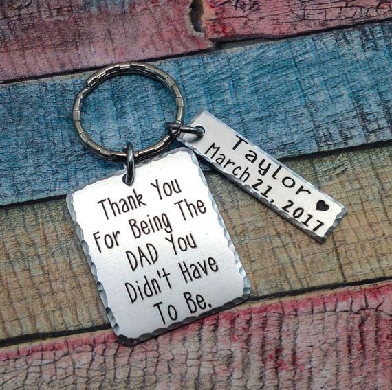 Adoption Gift, Stepdad Gift, Blended Family Gift, Step dad key ring, Adoption keychain, Step Daughter Gift to Dad, Adoptive Foster Parent