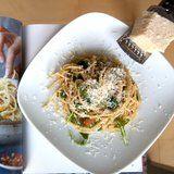 Lemony Arugula Spaghetti Cacio e Pepe Recipe | Chrissy Teigan
