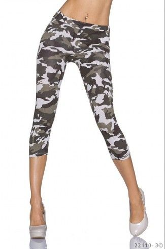 Κάπρι στρατιωτικό leggings - Κρεμ Καμουφλάζ