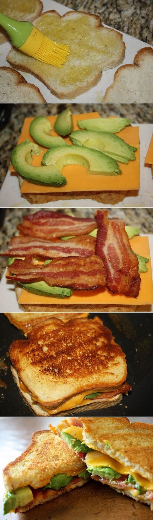 Bacon Avocado Grilled Cheese Ingredients 8 slices country-style sourdough bread, each 1/2 inch thick 4 tsp. olive oil 1/4 lb. cheddar cheese, thinly sliced 8 bacon slices, cooked 1/4 lb. Monterey j…