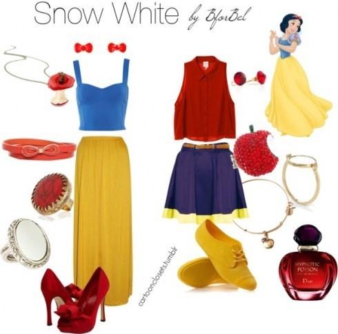 snow white: Fashion, Clothing, Comic, White Style, Cartoon Inspiration Outfits, White Inspiration, Disney Inspiration, Cartoon Closet, Snow White Outfits