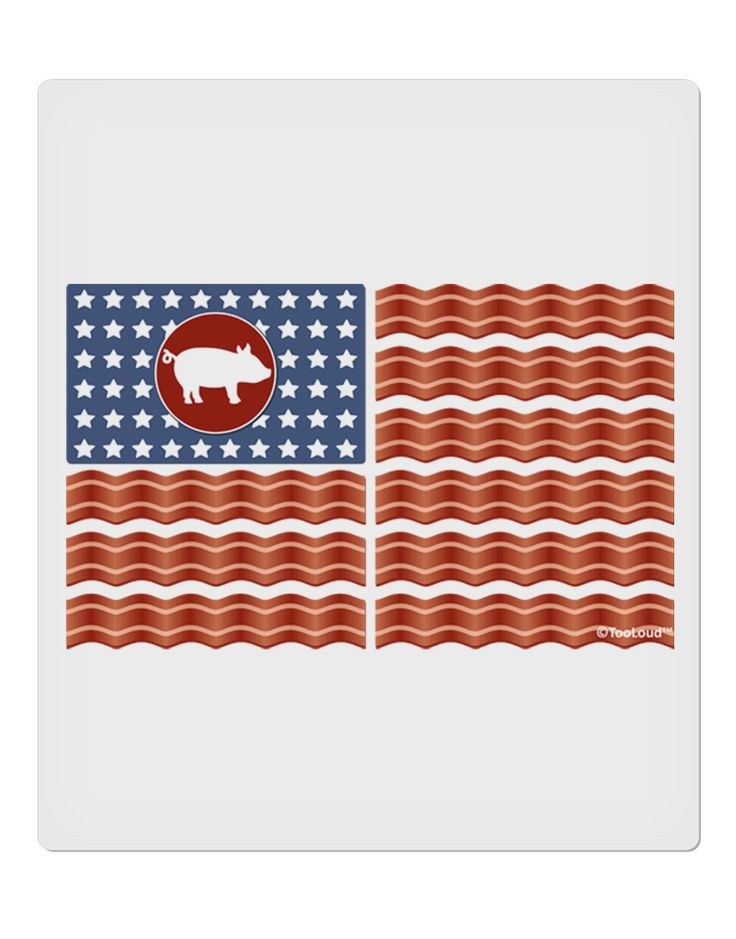 "American Bacon Flag 9 x 10.5"" Rectangular Static Wall Cling"