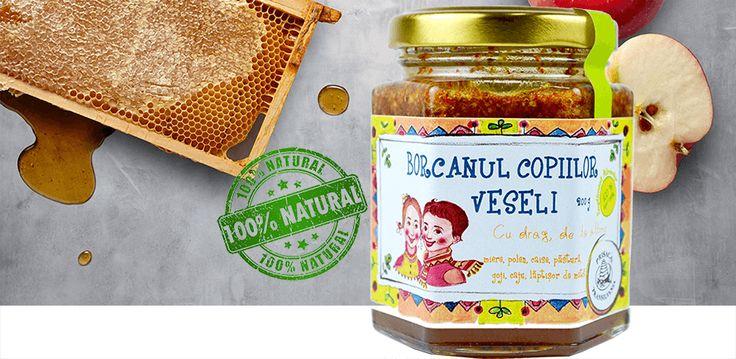 Borcanul copiilor veseli - amestc de produse apicole românești cu fructe și semințe, dedicat celor mici. Susține functionarea normală a sistemului imunitar și rezistența naturală a organismului; Contribuie la tonifierea organismului;