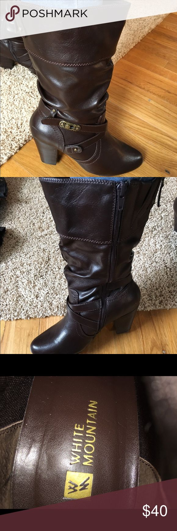 LIKE NEW! Brown Boots Awesome like new White Mountain brown faux leather boots. Worn once!! White Mountain Shoes Heeled Boots