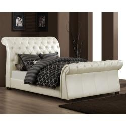 @Overstock - This Castela bed features sturdy Asian wood construction with soft white faux leather upholstery. The sleigh design and tufted headboard add an elegant touch to any room.http://www.overstock.com/Home-Garden/Castela-Soft-White-Faux-Leather-King-Sleigh-Bed/5943190/product.html?CID=214117 $900.99