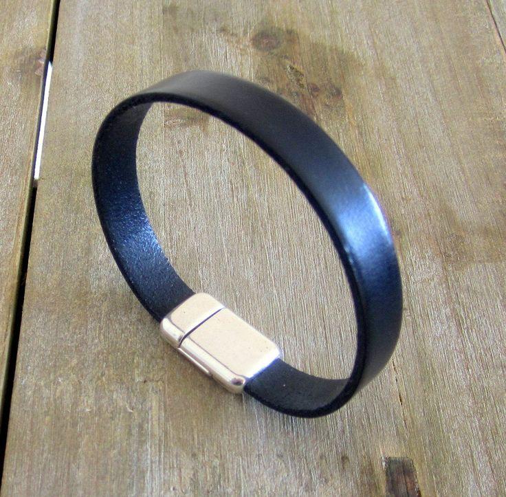 Bracelet Homme Cuir Noir, Fermoir Magnétique