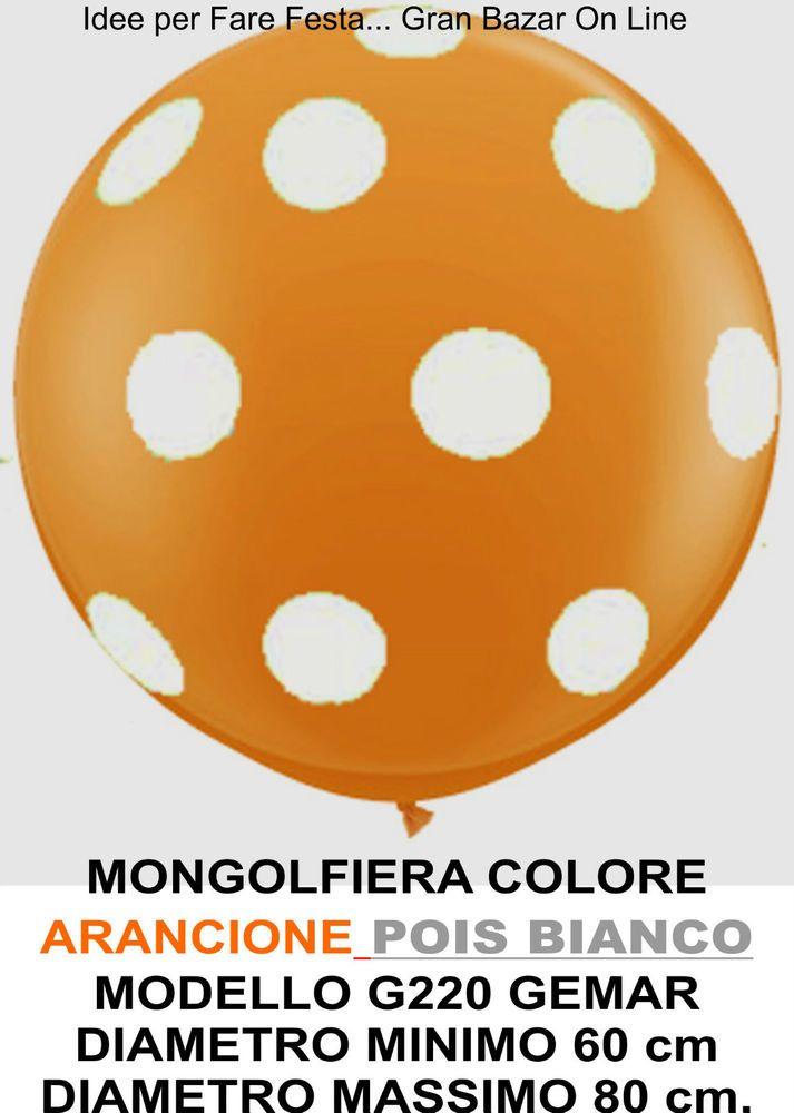PALLONCINO GIGANTE MONGOLFIERA ARANCIO POIS BIANCHI 60-80 cm. Diam. FESTA PARTY