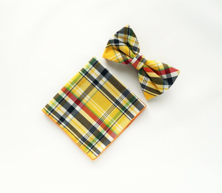 Yellow plaid bow tie Pre-tied yellow plaid pocket square gift for men wedding bow tie groomsmen bow tie uk by TheStyleHubTrends on Etsy